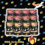 """PettBullDog® Test The Best Taste """"Medium"""" 3 ízű KÓSTOLÓ csomag SzuperKutyáknak (3 íz X 4 db) 400g (4 db. Vaddisznó, 4 db. Nyúl, 4 db. Hypoallergén-Bárány, barna rizzsel)"""
