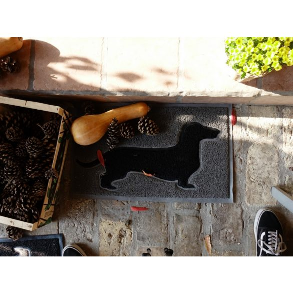 Tacskós Lábtörlő - Tacsis dekorált nagyméretű lábtörlő lakásdekoráció Fekete-szürke