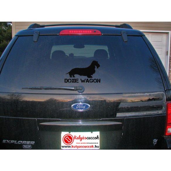 Autós Matrica Tacskós - Tacskó Doxie Wagon Nagy Minta  Több méretben