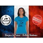 Bulldog Streetwear Női Póló - Bonjour la France mintával Szín: Heather Sapphire