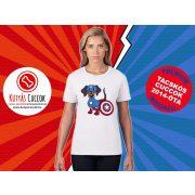 Tacskós Női Póló - Tacsi Dachshund Comic Captain Weenie Tacskós Cuccok White Collection mintával
