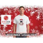 Bulldogos Karácsonyi Férfi Póló - Bulldog Streetwear French Bulldog Bad Santa Candy mintával
