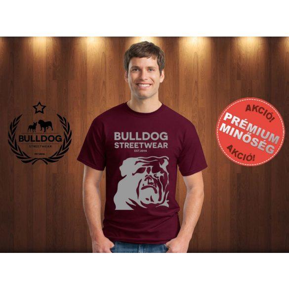 Bulldog Streetwear Férfi Póló - Bordóvörös XXL Méret - BSW Est.2014. angol bulldog mintával