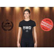 Bulldog Streetwear Női Póló - Peace, Love, Bulldog mintával Szín: Fekete