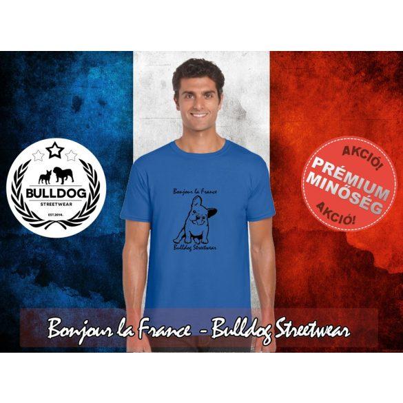 Bulldog Streetwear Férfi Póló - Bonjour la France mintával  Szín: Neon Blue