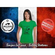 Bulldog Streetwear Női Póló - Bonjour la France mintával Szín: Heather Green