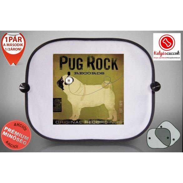 Mopszos Autós Napellenző Napvédő -  Mopsz Pug Rock mintával