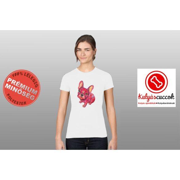 Bulldogos Női Póló - Bulldog Art piros francia bulldog mintával
