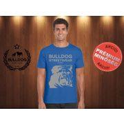 Bulldog Streetwear Férfi Póló - Égkék L Méret - Bulldog Streetwear Est.2014. mintával