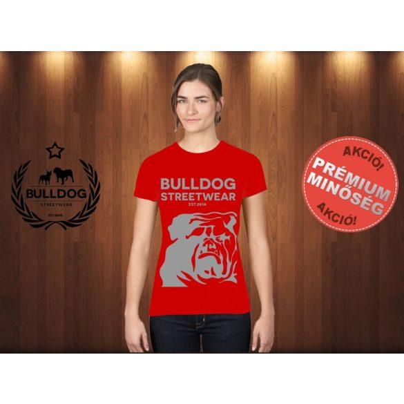 Bulldog Streetwear Női Póló - Piros XL Méret - BSW Est.2014. angol bulldog mintával