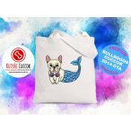 Bulldogos vászontáska Mermaid Bulldog Sellőmintával BulldogArt Kollekció