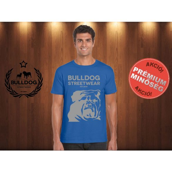 Bulldog Streetwear Férfi Póló - Égkék XXL Méret - Bulldog Streetwear Est.2014. mintával