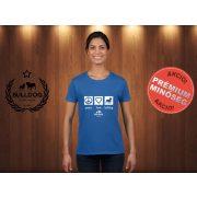 Bulldog Streetwear Női Póló - Peace, Love, Bulldog mintával Szín: Royal Blue