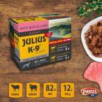 Julius-K9 Beef & Lamb szószos falatok kutyáknak 12x100gr. - Marhával és Báránnyal 6x100gr. Marha és 6x100gr. Bárány.