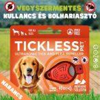 Vegyszermentes ultrahangos kullancs- és bolhariasztó medál kutyáknak és macskáknak, TICKLESS - narancs