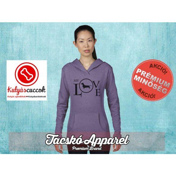 Tacskós Női kapucnis pulóver - Tacskó My Love mintával Több színben