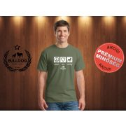 Bulldog Streetwear Férfi Póló - Peace, Love, Bulldog mintával Szín: Military Green