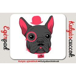 Bulldogos Egérpad - Rózsaszín kalapos francia bulldog grafikával