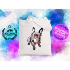 Bulldogos vászontáska BulldogArt Kollekció Francia Bulldog Red Glass mintával