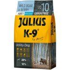 Julius-K9 GF Hypoallergenic Utility Dog Adult Wild Boar & Berry 2 zsák 2x10kg + AJÁNDÉK VÁLASZTHATÓ 2.990 FT ÉRTÉKBEN! - Gabonamentes Szuperprémium táp Vaddisznóval és Bogyókkal 10kg.