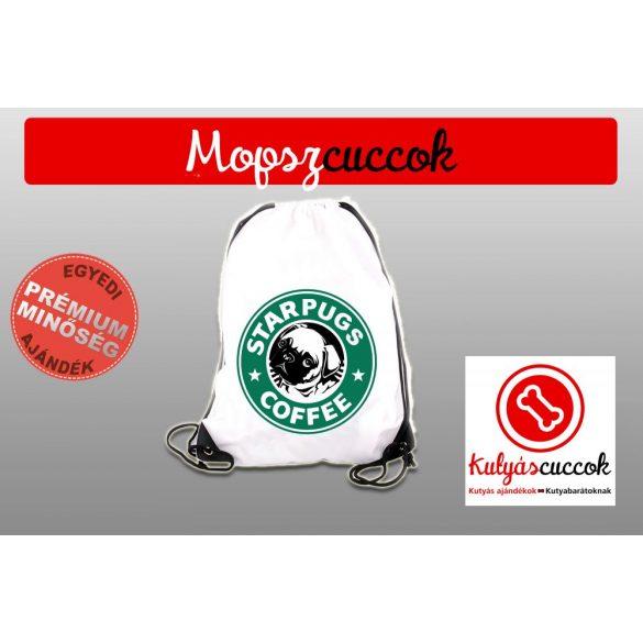 Mopszos Tornazsák színes- Mopsz Starpugs Cofee mintával