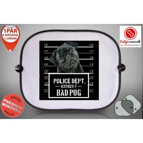 Mopszos Autós Napellenző Napvédő -  Mopsz Fekete Bad Pug mintával
