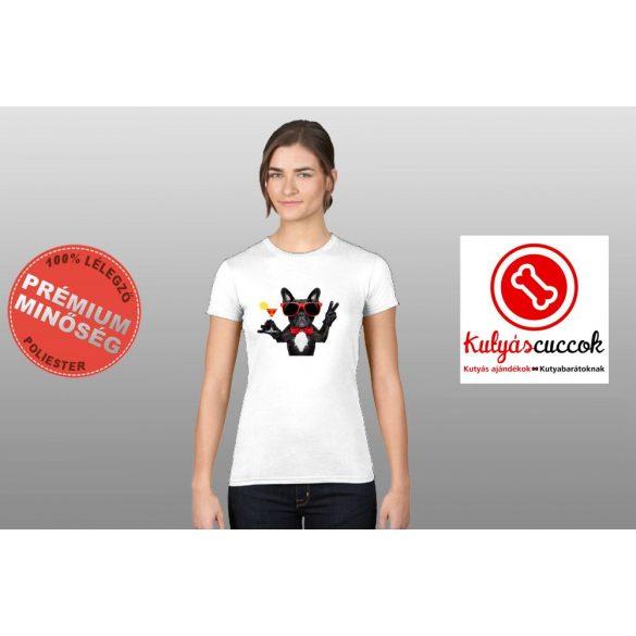 Bulldogos Női Póló - Bulldog Beach Coctail mintával