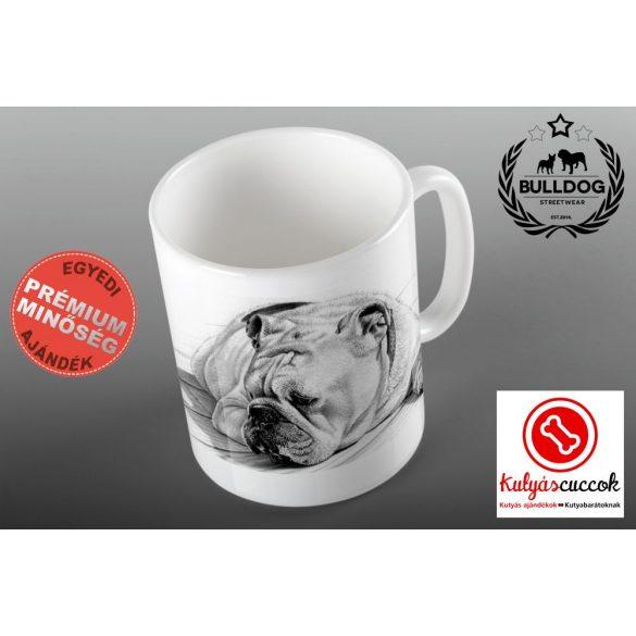 Bulldogos Bögre - Bulldog rajz fekete-fehér grafikával