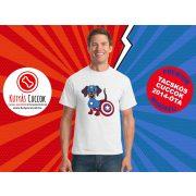 Tacskós Férfi Póló - Tacsi Dachshund Comic Captain Weenie Tacskós Cuccok White Collection mintával