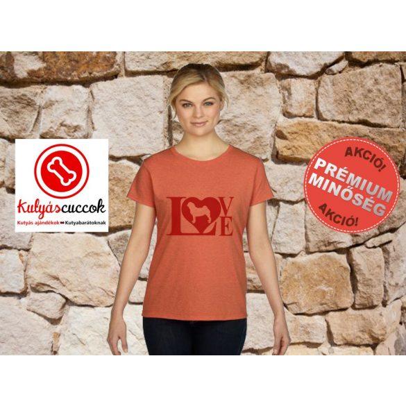 Mopsz Női Póló - Mopsz Red Love mintával Különböző színekben
