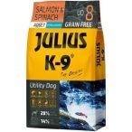Julius-K9 GF Hypoallergenic Utility Dog Adult Salmon & Spinach 2 zsák 2x10kg + AJÁNDÉK VÁLASZTHATÓ 2.990 FT ÉRTÉKBEN!  - Gabonamentes Szuperprémium táp Lazaccal és Spenóttal 10kg.