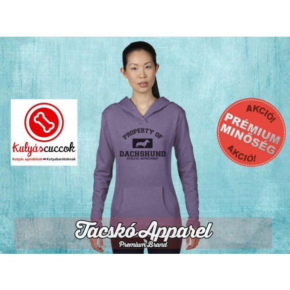 Tacskós Női kapucnis pulóver - Property Of Dachshund mintával Több színben