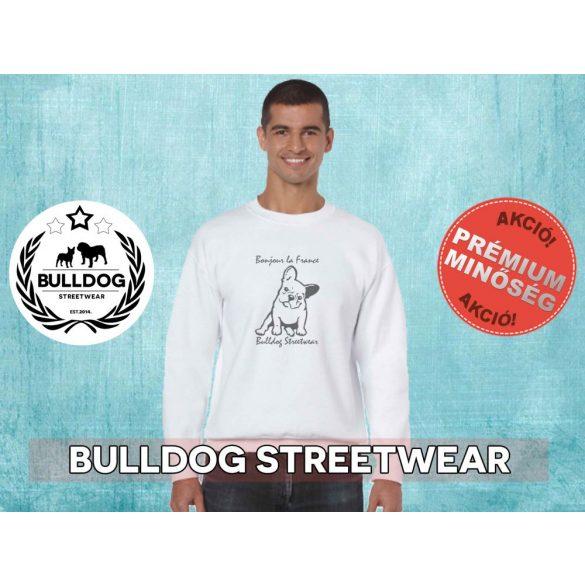 Bulldog Streetwear Férfi környakas pulóver - BSW Bonjour la France mintával Több színben