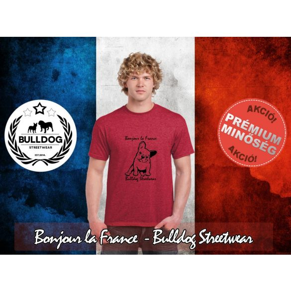 Bulldog Streetwear Férfi Póló - Bonjour la France mintával  Szín: Heather Red