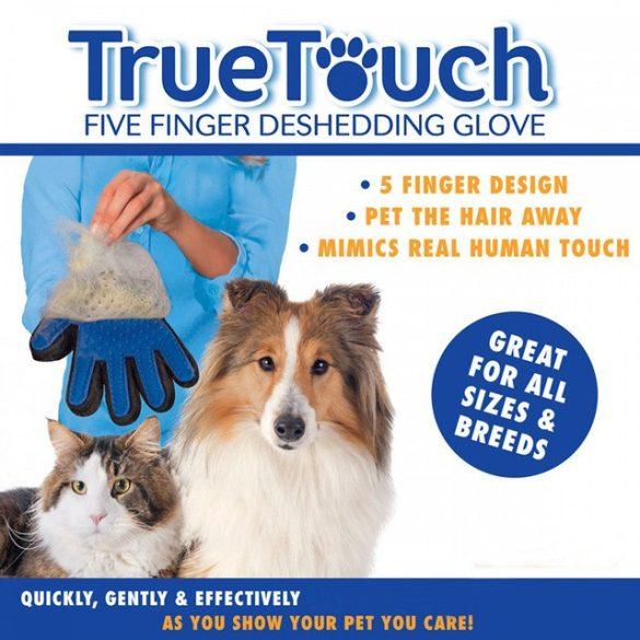 True Touch Ötujjas szőrápoló kesztyű kutyáknak és macskáknak RAKTÁRRÓL!