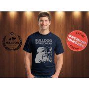 Bulldog Streetwear Férfi Póló - Sötétkék XL Méret - BSW Est.2014. angol bulldog mintával