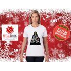 Kutyás Karácsonyi Női Póló - Merry Christmas Merry Woofmas fekete mintával