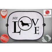 Tacskós Autós Napellenző Napvédő - Tacskó My Love  mintával
