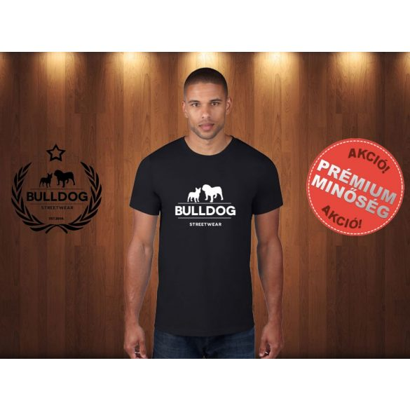 Bulldog Streetwear Férfi Póló - Klasszikus Logó mintával Szín: Fekete