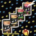 """PettBullDog® Test the Best Taste, """"Medium"""" 3 ízű ÍZLELŐ csomag SzuperKutyáknak (3 íz X 1 db) 400gr (1 db. Vaddisznó, 1 db. Nyúl, 1db. Hypoallergén-Bárány, barna rizzsel)"""
