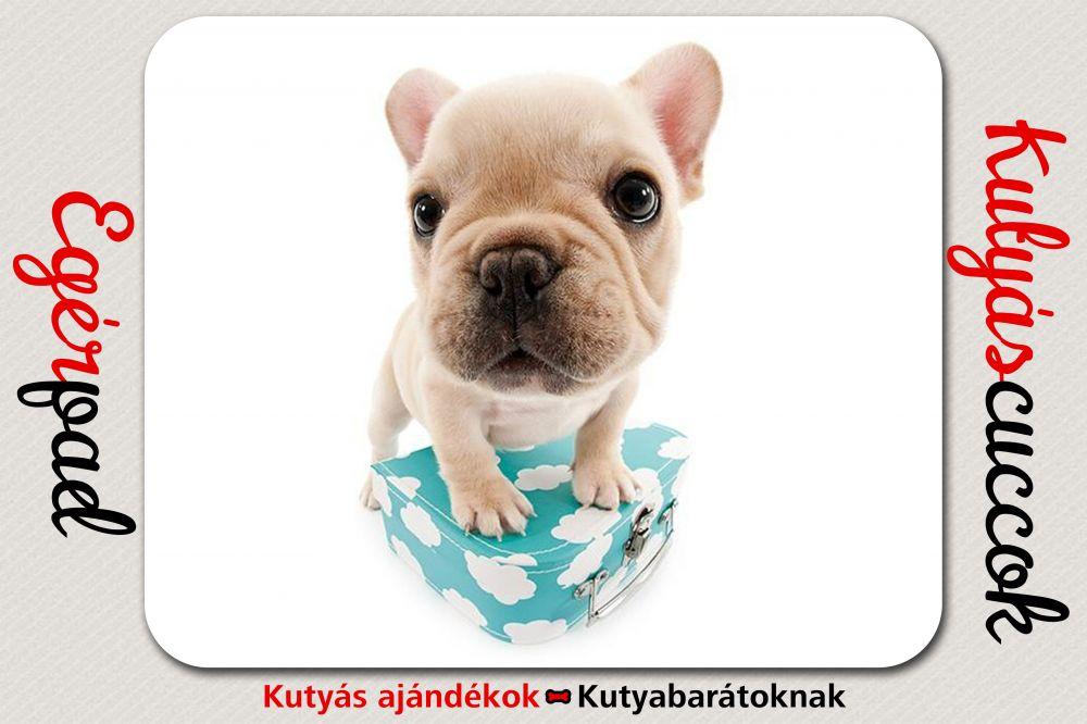 Bulldogos Egérpad - Bulldog Kék Bőröndös grafikával